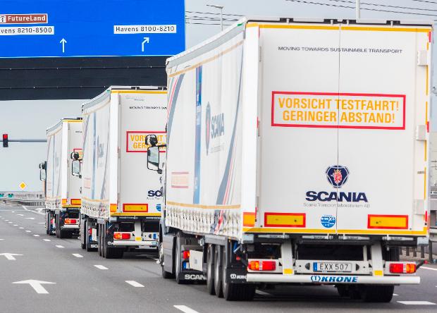 Колонна беспилотный грузовиков в Европе